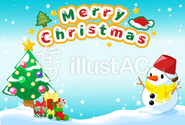 クリスマスカード/クリスマスツリーと雪だるま